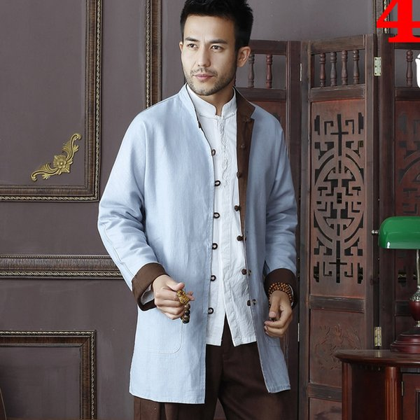 Wholesale- High Quality Chinese Traditional Men's Two-side Cotton Linen Kung Fu Jackets Clothing Coats M L XL XXL 3XL