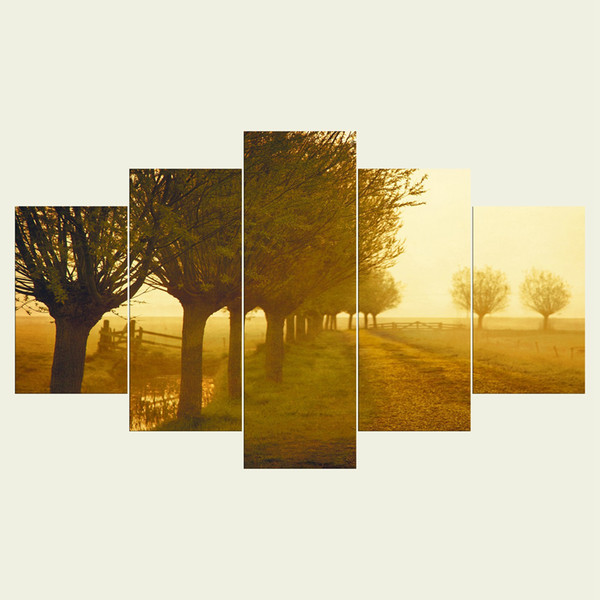 (No frame) The trees three series HD Canvas print 5 Panel Wall Art Oil Painting Textured Abstract Pictures Decor Living Room Decoration