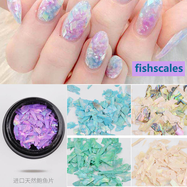 best selling New Shell Flakes Nail Art Decorations Natural Fish Scales 3d Manicure Pedicure Dyed Sequins Ornaments Diy Nails Beauty Gift 2017