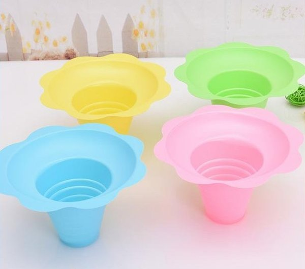 best selling 1000pcs lot disposable plastic ice cream Parfait sundae cup Flower shape cups Bowls 250ML Event Party Wedding