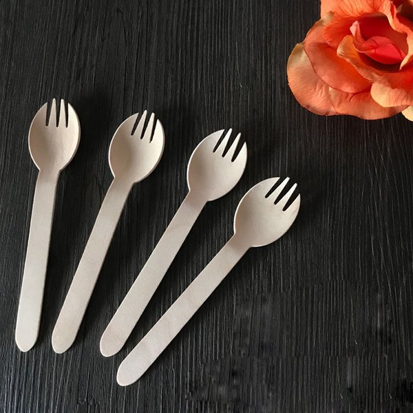 Disposable Wooden Spoon Knives Forks Western Spoons Tableware Tool Kitchen Cooking Wedding Party Supply Kitchen Accessories