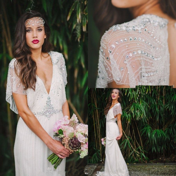 Sexy Bohemian V-neck Crystals Beadings 2019 White Ivory Open Back Wedding Dresses Beach Country Vintage Plus Size Bridal Gowns Custom Size