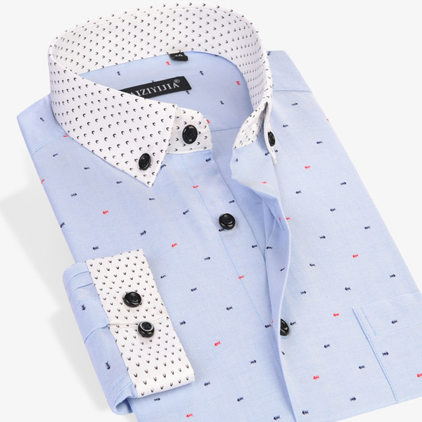 Wholesale- CAIZIYIJIA 2017 Men's Fish Bone Printed Long Sleeve Dress Shirts Patchwork Cuff Comfort Soft Casual Slim-fit Button-Down Shirts