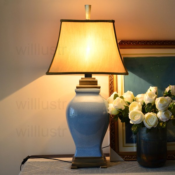 ful Glazed Ceramic Table Lamp Ice Cracked Porcelain Jar Copper Base Fabric  Shade Table Light Study Bedside Living Room Lamp From Willlustr, $334.18 |  ...