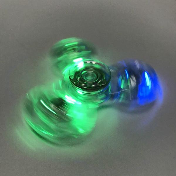 Beautiful Plastic crystal Light hand Spinner with switch LED Fidget Spinner Finger Fingertip Gyro Tri-Spinner Handspinner Fidget Toys