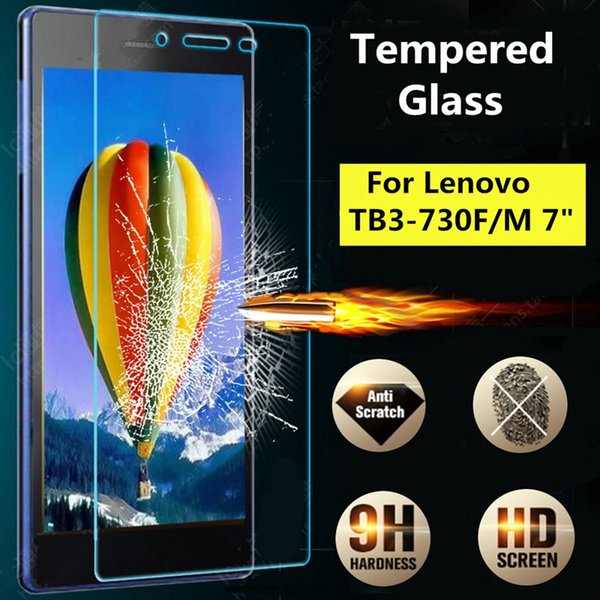 Wholesale- 9H Tempered Glass Film Screen Protector For Lenovo Tab3 7 TB3 730F/M New 7inch Tablet Clear Screen Film Protector For Lenovo