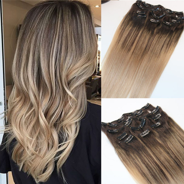 #4/#18 8A 7pcs 120gram Clip In Human Hair Extensions Ombre Dark Brown Root To Ash Blonde Balayage Highlights Hairstyle
