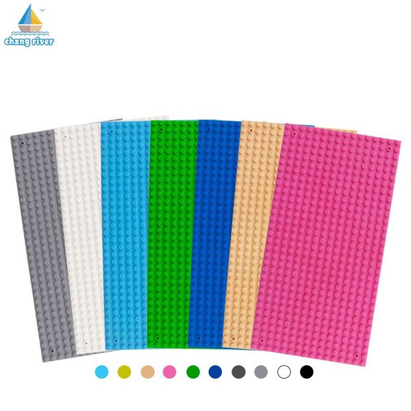 Wholesale- [Chang River] High Qualit Small Particles Blocks Base Plate Toys 32*16 Dots 12.8*25.6 Cm Building Blocks DIY Baseplate For Toy
