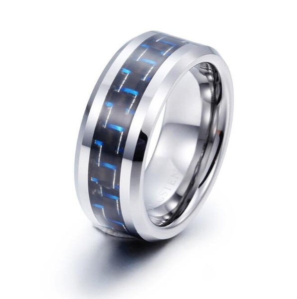 8mm Hot Sales Jewelry Tungsten Carbide Ring Blue and Black Carbon Fiber inlay for men and women TUR-002 8mm