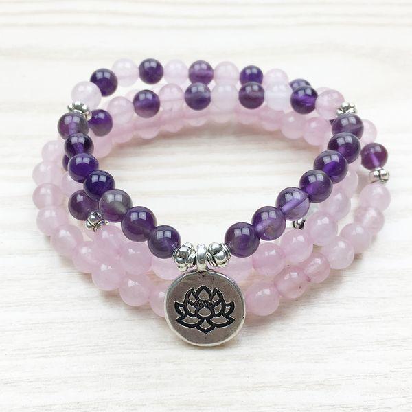 SN1130 Lotus Mala Beads 108 Mala Necklace Buddhist 6mm Beads Rose Quartz Mala Jewelry Amethyst Yoga Bracelet Free Shipping
