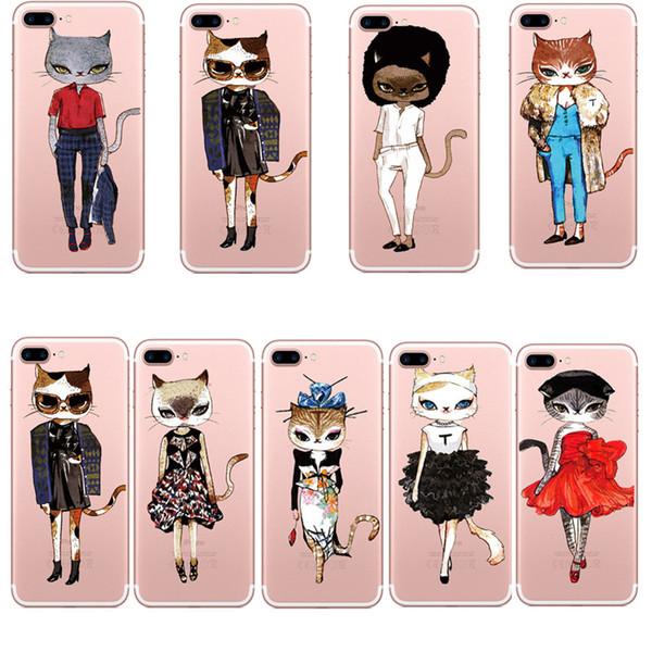 Accessori per telefoni cellulari Custodie 2018 Idee di moda per gatti dipinti cartoni animati Custodia per stampa Custodia Defender per iPhone 5S 6 6s plus 7 7Plus