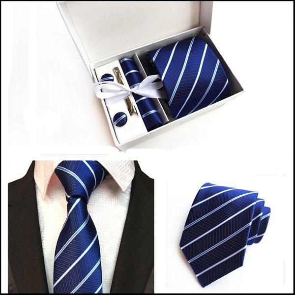 High Quality Fashion Men Neck Tie Set (Tie+Tie Clips+Cufflinks+Hanky+Box) Paisley Necktie Man Formal Silk Tie Suit Business Neck Ties Stripe