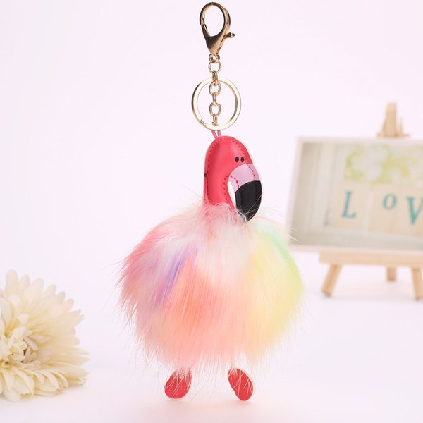 Cute Cartoon Flamingo Keychain Lovely Rainbow Fluffy Artificial Rabbit Fur Ball Key Chain Animal Bird Pompom Women Car Bag Key Ring Gift