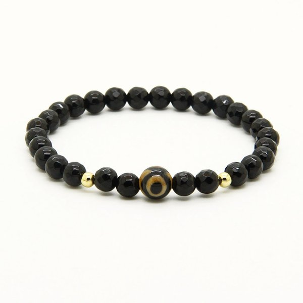 Religious Wholesale Jewelry 10pcs/lot A Grade Dzi Eye Stone Beads With 6mm Faceted Black Onyx Lucky Energy Easter Bracelets