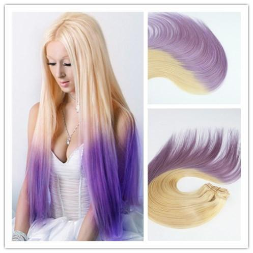 Ombre Color 613/Lavender Virgin Hair Straight Best Selling Top Grade Human Hair Clip In HairExtensions 100G Per Bundle
