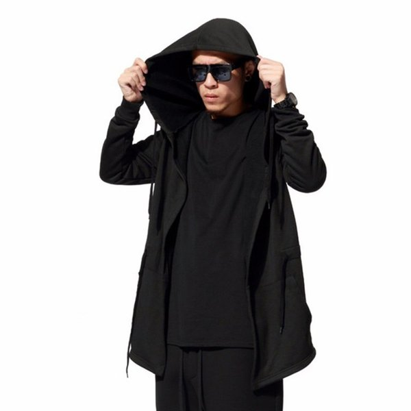 Wholesale- Autumn Winter Men's Fashion Black Cloak Hooded Male Streetwear Hip Hop Long Hoodies Clothing Men Outerwear Cool Man