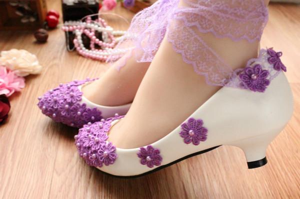 Nova renda roxa com sapatos sapatos de noiva foto casamento sapatos brancos de salto alto da dama de honra sapatos de mulher solteira