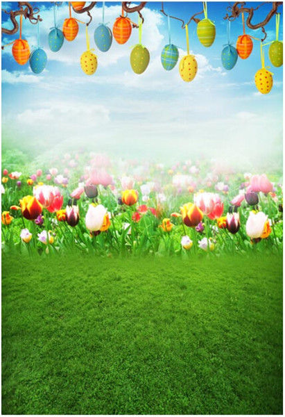 Colorful Easter Eggs Photography Backdrops Blue Sky Tulip Flowers Green Grassland Spring Scenic Kids Baby Newborn Photo Studio Backgrounds