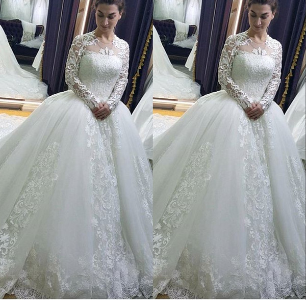New 2017 Arrival Ball Gown Tulle Wedding Dresses Jewel Lace Sheer Long Sleeves Court Train Wedding Bridal Gowns