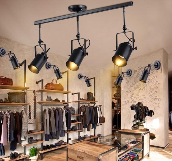 Retro Loft Vintage LED Track Light Industrial Ceiling Lamp Bar Clothing Personality spotlight Light Three Heads LLFA