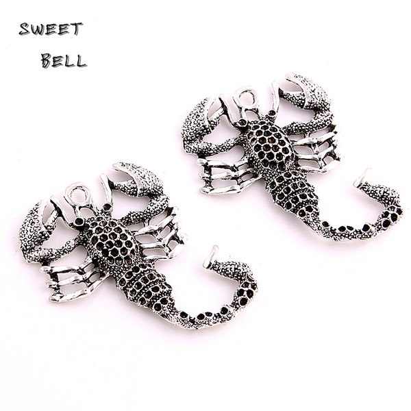 SWEET BELL Min order 6pcs 38*50mm Antique Silver Metal Zinc Alloy Animal Scorpions Pendant Charms Fit Diy Jewelry Making D6132