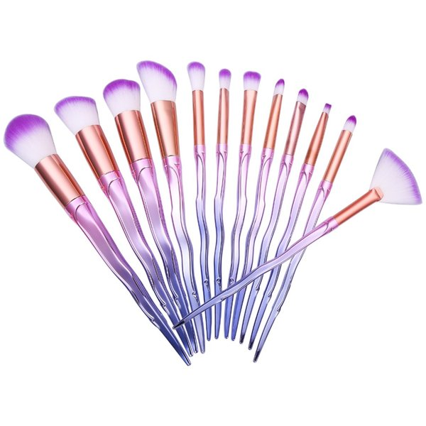 New Makeup Brushes Professional 12 Pcs Makeup Brush Set Synthetic Hair Gradient Color Highlighter Powder Eyeshadow Make Up Brush