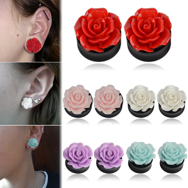 1Pair Rose Acrylic Double Saddle Ear Plugs Fashion Ear Gauge Plugs Tunnels Stretcher Expander For Women Jewelry 8mm-25mm