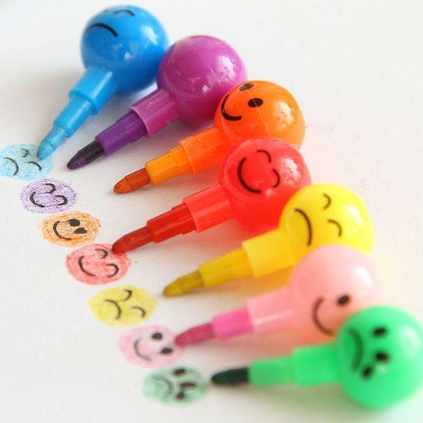 7 Colors Cartoon Emoji Print Pencils Round Graffiti Pen Stationery Gifts For Kids Wax Crayon Pencil 7 Colors