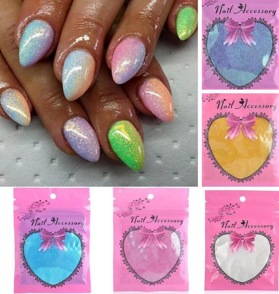 Venta al por mayor- Nuevo 2016 HOT Mermaid Effect Glitter Powder Dust Magic Glimmer Nail Vinilo Sticker Art Nail decoración de uñas DIY Accesorios 5color