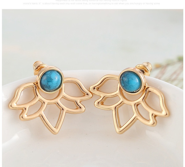Trendy natural stone earrings Gold Silver Color Alloy Spike Earrings Ear Jacket Clip Stud Earrings for Women(1 Pair)