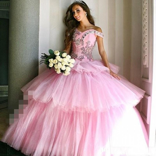 Princess Tiered Layers Skirts Quinceanera Dresses 2017 Sparkly Crystals Elegant Pink Off The Shoulder Lace Up Tulle Sweet Prom Ball Gown DTJ
