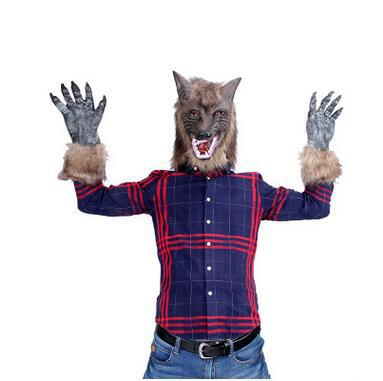 Halloween Clothing Wolf Mask Claws Cosplay Scary Costumes for Adult Halloween Party Animal Full Face Mask Kid's Scary Toys