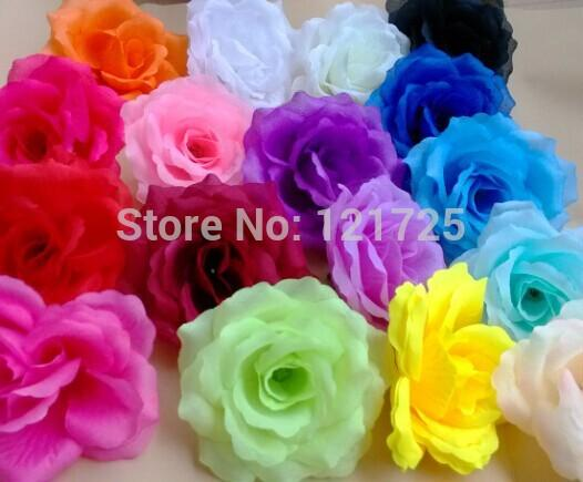 Wholesale-10 cm Artificial flower Silk Rose Heads Wedding Christmas Party 18 Colors Diy Jewelry Brooch Headwear arches flowers