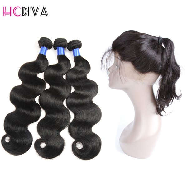 Peruvian Human Hair with Closure Body Wave 3 Bundles Pre Plucked 360 Lace Frontal with Bundles Natural Color 360 Lace Frontal with Bundles