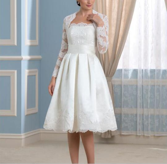 2017 Modern A-Line Plus Size Mother Of The Bride Dresses With Jacket Strapless Illusion Long Sleeves Knee Length Appliques Ribbon Prom Gowns
