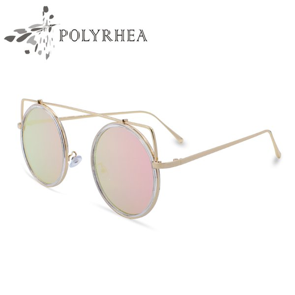 2018 Classic Round Sunglasses luxury Women Brand Designer Coating Sun glasses UV Mirror Sport Vintage Sunglasses With Box And Cases
