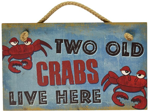 Wood Hanging Wall Sign Two Old Crabs Live Here Distressed Plaque Cozy Beach Cottage Decor Art