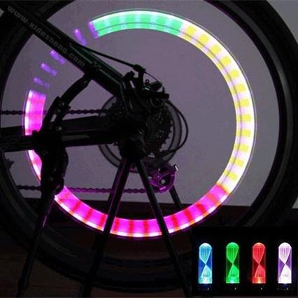 1 Pair Bright Bike Car Motorcycle Wheel Tire Valve Colorful Gas Nozzle LED Flash Lights Lamps