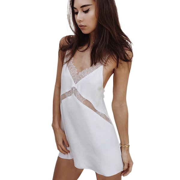 Lace splice backless summer slip dress sleepwear fashion new strap sleeveless sexy hot short dresses women slim sundresses