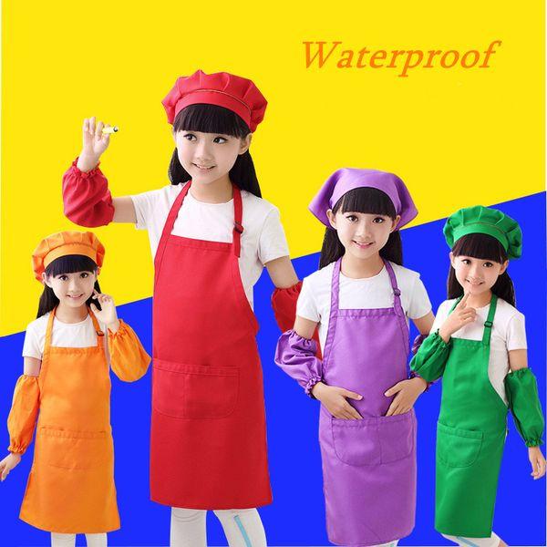 best selling Echootime Factory Price!! Kids Aprons Pocket Craft Cooking Baking Art Painting Kids Kitchen Dining Bib Children Aprons Kids Aprons