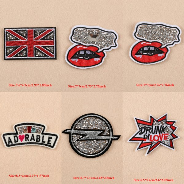 10pcs Sexy Lips Love UK Flag Iron On Patch For Clothing Beaded Patches parches Embroidered Jacket Fabric Patchwork Art Stage Badge Appliques