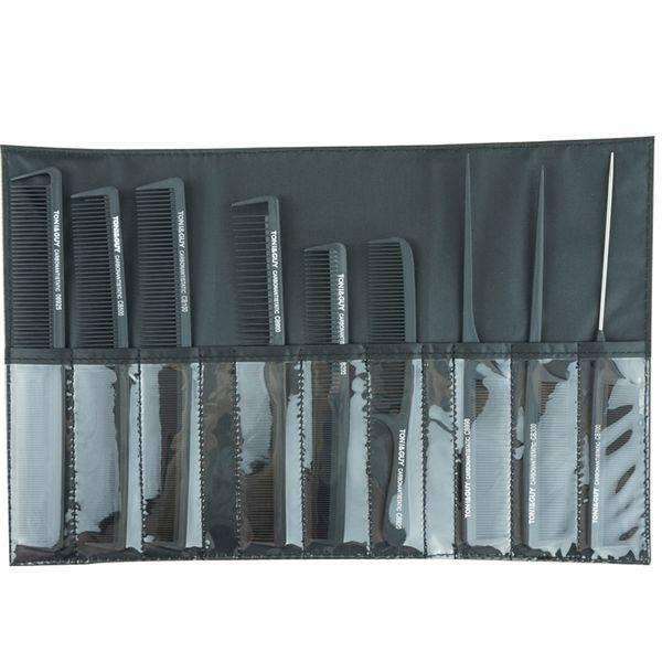 TG 9 Adet PRO Salon Saç Şekillendirici Kesme Karbon Antistatik Berberler Detangle Tarak Kuaförlük Karbon Combs Cüzdan Içinde Set