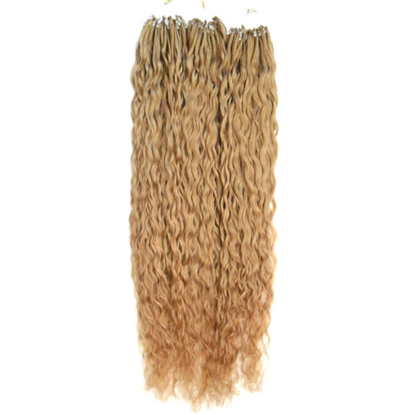 Brazilian virgin hair honey blonde curly Micro Link Hair Extensions 300g human hair micro ring extensions 1g/s 300s micro loop 1g curly