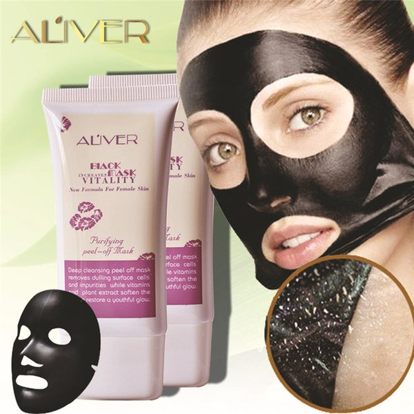 ALIVER Blackhead Remover Deep Cleansing Black Mask for Face Peel Off for Women Facial Face Nose Skin Care Acne Treatments Pore Cleaner