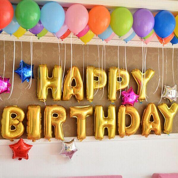 13pcs set gold sliver alphabet letters balloons happy birthday party decoration toys aluminum foil membrane ballon