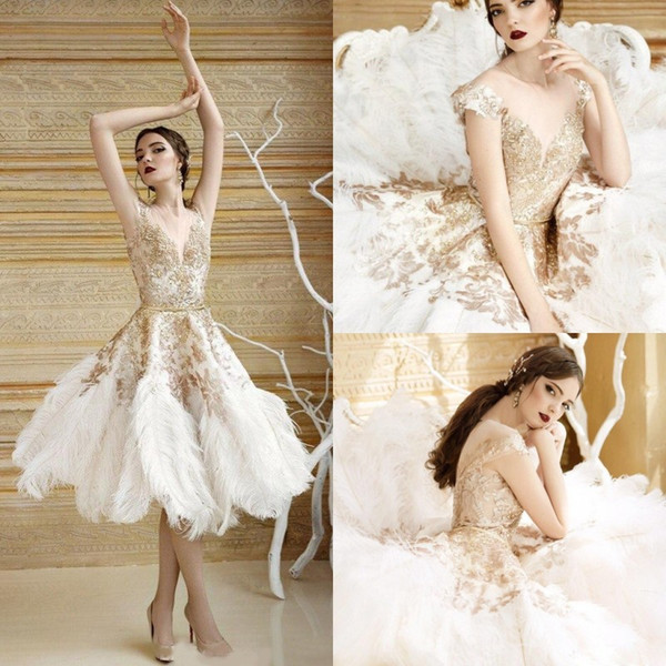 Discount 2017 Luxury Gold Short Wedding Dress Feather Bridal Gowns ...