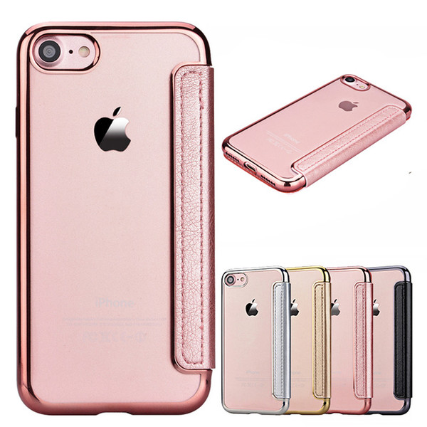 Case For iPhone 7 7 Plus Luxury Rose Gold Electroplate Case Flip PU Leather+TPU Back Clear Mobile Phone Cover