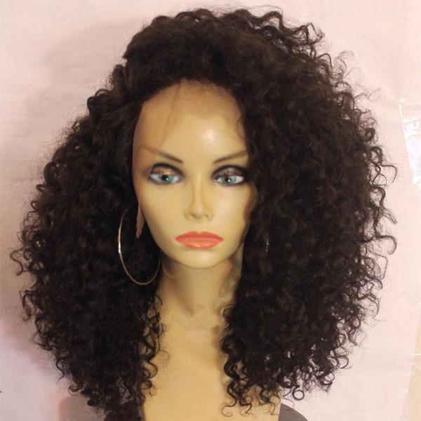African American Human Hair Wigs Curly Virgin Brazilian Glueless Full Lace Front Wigs Kinky Curly Virgin Hair Wigs For Women