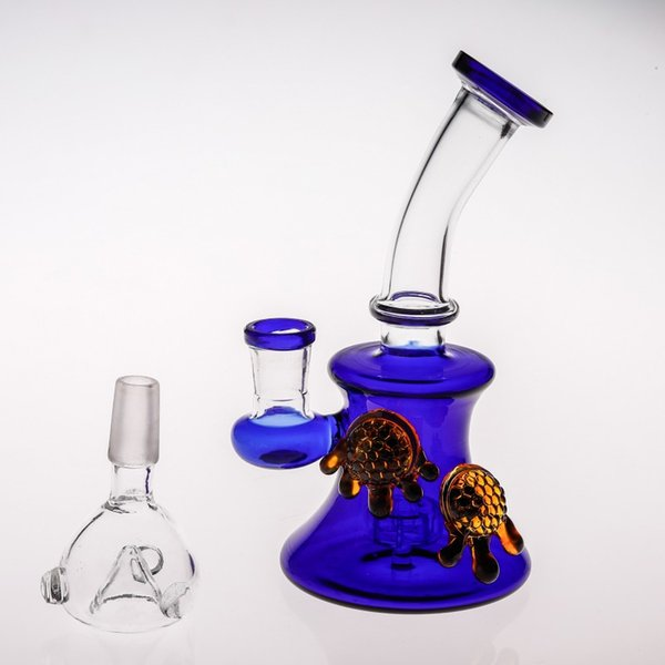 Recycler Oil Rigs Glass Bong Handhold Mini Blue Glass Water Pipe Birdcage Perc Smoking Water Bong Matched Amber Bear Paws Beaker Pipes