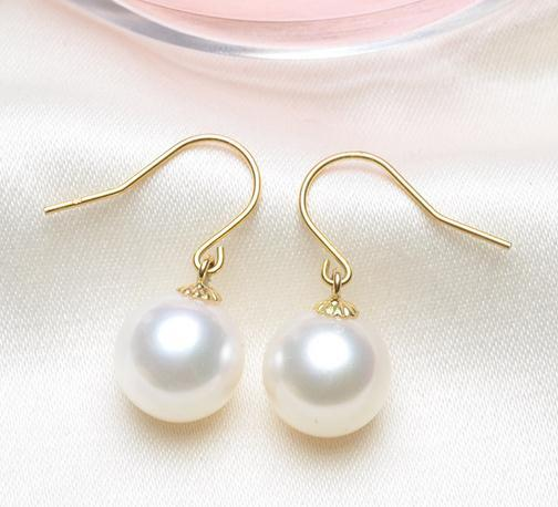 Elegant natural round 8-9mm south sea white pearl earrings 14k gold
